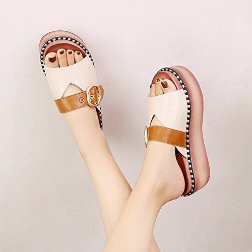 LIXIONG zapatillas Hembra verano Moda Fondo de pastel de pino Fondo grueso Retro zapato, Altura del tacón 6cm, 3 colores -Zapatos de moda (Color : Negro, Tamaño : EU39/UK6/CN39/245) Beige