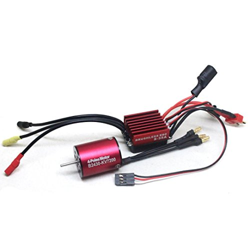 Sensorless Motor Speed Controllers (Brushless Motor,Aritone Waterproof 2430 7200KV Sensorless Motor with 25A Electric Speed Controller for 1/10 RC Car/Truck/Helicopter (red))