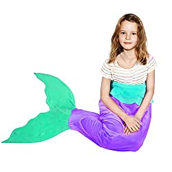 Battop Mermaid Tail Super Soft Blanket Crystal Velvet Lovely Gift For Kids (Child, Purple)