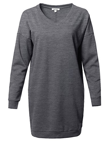 Over Junior Tee (Awesome21 Casual Over-Sized Loose Fit V-Neck Tunic Length Sweatshirts Medium Grey S/M)