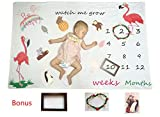 Monthly Milestone Blanket for Baby Girl Boy/Baby Shower Keepsake Gift/Soft &Large 60x40 Unique Flamingo Baby Photo Prop Swaddle Blanket/Bonus Wreath Frame, Wood Frame and Animal Zoo Prop