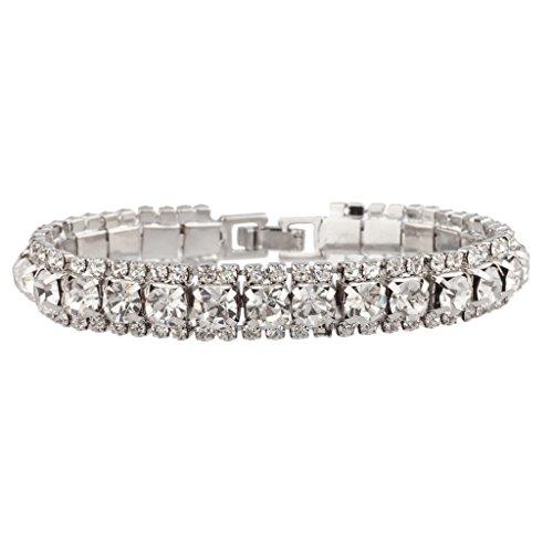 [Lux Accessories Bridal Pave Crystal Simple Elegant Bride Bridesmaid Clasp Bracelet] (Elegant Bride Costumes)