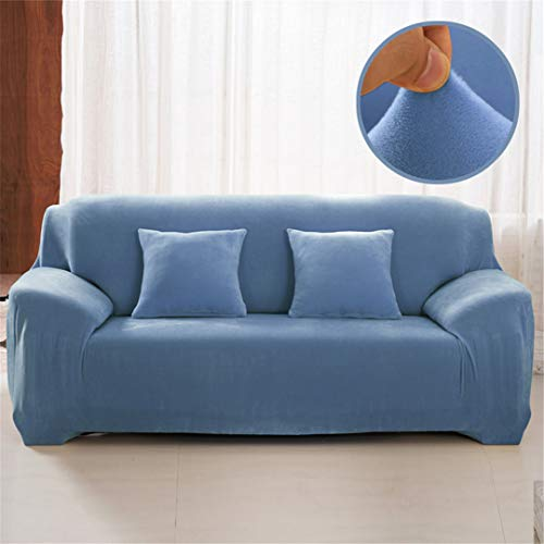 (Ranferuyk Plush Sofa Cover 1/2/3/4 Seater Thick Slipcover Couch Sofacovers Stretch Elastic Sofa Covers Towel Wrap Covering Grey Blue 2 seat 145-185cm)