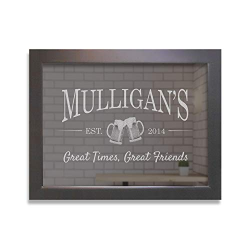 "Lifetime Creations Engraved Custom Bar Mirror with Beer Mugs Personalized Bar Mirror, Large Home Bar Mirror, Back Bar Mirror (22"" x 28"" Black Frame)"