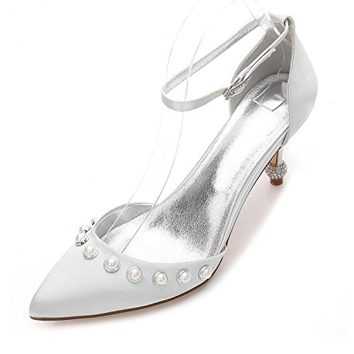 L@YC Women's Shoes Wedding Basic Pump Comfort Ankle Strap Pointed Toe Shoes Low Heel Kitten Heel Stiletto Silver isiQdfRH