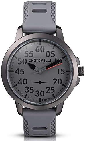 Chotovelli Men s Aviator Mecha-Quartz Watch Waterproof Vintage Leather Strap