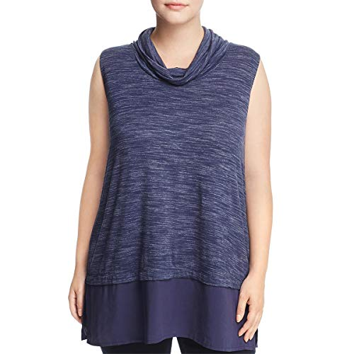Two by Vince Camuto Womens Plus Space Dye Cowl Neck Casual Top Navy (Vince Cowl Neck)
