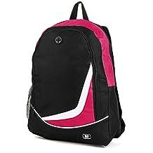 """SumacLife Multiple Nylon Athletic Ultra-Lightweight Sport Backpack / Shoulder Bag / School Backpack / Trave Bag / Laptop Bag Fits 14"""" 15"""" inch(Magenta/Black)"""