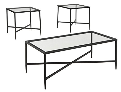 - Ashley Furniture Signature Design - Augeron Contemporary 3-Piece Table Set - Includes Cocktail Table & 2 End Tables - Black