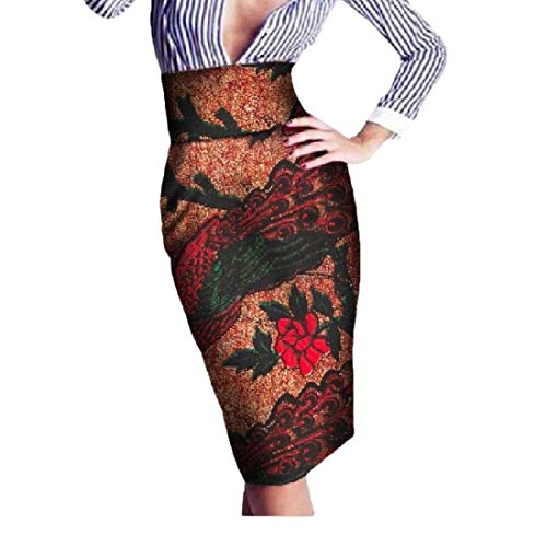 Zimaes Womens High Waist Wrap Africa Batik OL Floral Classic Bodycon Skirt 3 5XL by Zimaes-Women