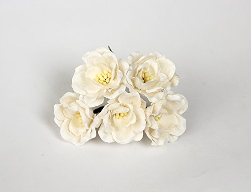 ScrapFlowers 50 Large Paper Magnolias for Scrapbooking, Wedding and Baby Shower Decorations, Favours DIY (White) by ScrapFlowers