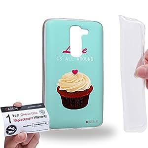 Case88 [LG G2 mini] Gel TPU Carcasa/Funda & Tarjeta de garantía - Art Drawing Love Is All Around Cupcake Assorted Art1293