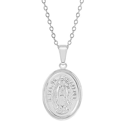 - 925 Sterling Silver Our Lady of Guadalupe Virgin Mary Medal Necklace Kids 16