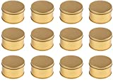 Juvale Candle Tins - 12-Pack 7-Ounce Gold Metal Round Tins with Slip-On Lids, Jar Container, Metal Tins for Candle Making, Cosmetics, Sample, Travel, Party Favor, Gold, 3 x 3 x 1.75 inches