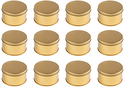 (Juvale Gold Metal Round Jar Tins with Slip-On Lids, (12 Pack) 3 x 1.5 Inches )