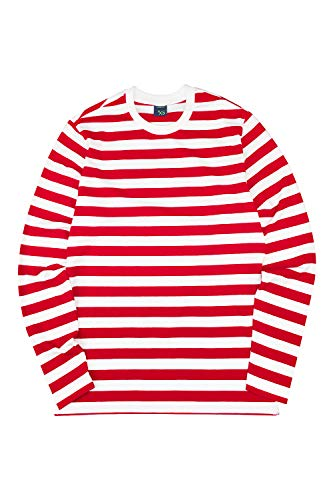 Zengjo Men's Casual Cotton Spandex Striped Crewneck Long-Sleeve T-Shirt Basic Pullover Stripe tee Shirt (M, RED&White)