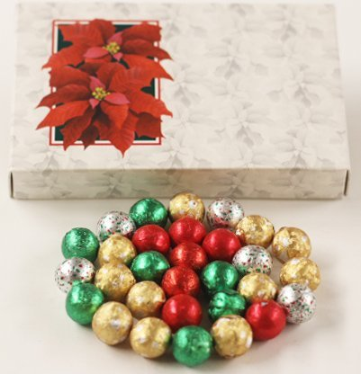 (Scott's Cakes Foil Wrapped Solid Milk Chocolate Christmas Ornaments in a 1 Pound Poinsettia Box)