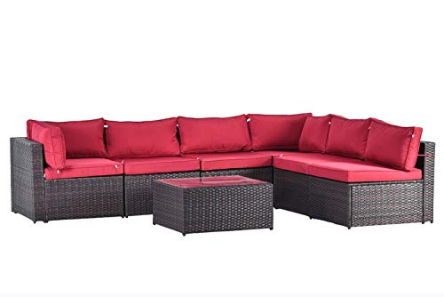 Gotland 7pcs Outdoor Sectional Sofa Patio Furniture Cushion Cover Set,Only Covers(Red) -Incl.6 Seat Cushion Covers & 8 Back Pillow Covers