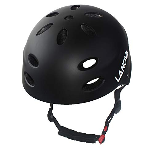 LANOVAGEAR Child Youth Adjustable Multi-Sport Helmet CPSC Certified Impact Resistance Ventilation for Bicycle Cycling Skateboarding Scooter Roller Skate Inline Rollerblading Longboard (Black, M)