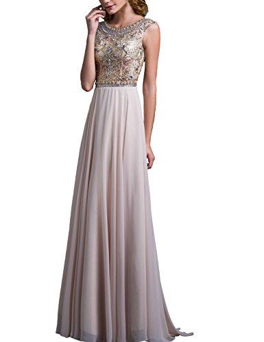 Chiffon Bodice (LovingDress Women's Prom Dresses Tulle Bodice with Chiffon Long Evening Dress Size 4 US Champagne)