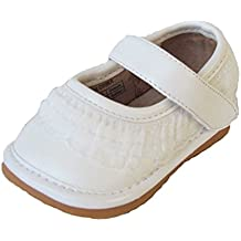 Squeaky Shoes Toddler White Leather Shoes with Ruffles
