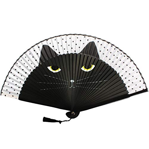 YUYUE Silk Hand Held Folding Fans 14 inches (38cm) Women Hand Held Folding Fans with Gifts Box - Japanese Cartoon Style (Black Cat)