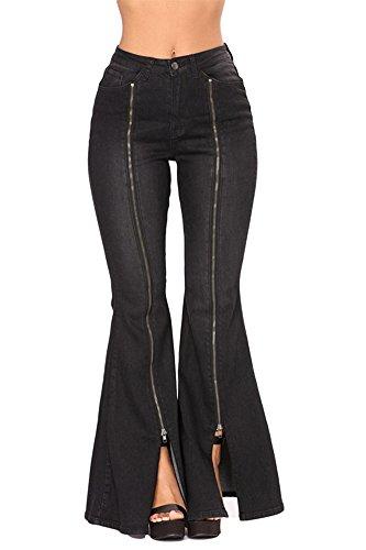 Womens Bell Bottoms Jeans Pants - VIGVOG Women's High Waist Black Denim Zipped Legs Bell Bottom Jeans Pants