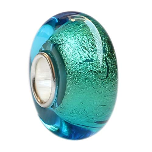 (Beautiful Ocean Sea Golden Beach Murano Glass Bead Charm Fits Pandora Bracelet)