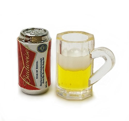 The Best Buy Set of 2 Dollhouse Miniature Accessories Can of Beer and Beer in Clear Plastic Mug from The Best Buy