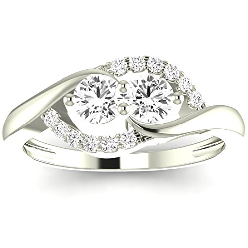 3/4 Carat t.w. Twisting Curve 2rue Love 2 Stone Collection Round 14K White Gold Diamond Engagement Ring (F G Color, SI1 SI2 Clarity Center Stones)