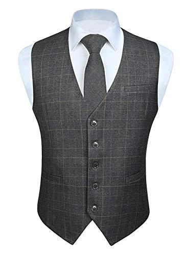HISDERN Men's Suit Vest Business Formal Dress Vest for Tuxedo Slim Fit Cotton Plaid Waistcoat Wedding