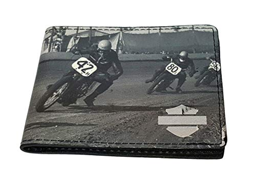 - Harley-Davidson Mens Flat Track Racing Motorcycles Black Leather Bifold Wallet
