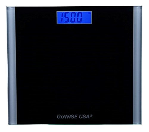 GoWISE USA Electronic Personal Digital Scale w/ Step-On Techonology & Wide Tempered Glass Platform & LCD Display w/ Backlight 400LB Capacity (Black/Silver)