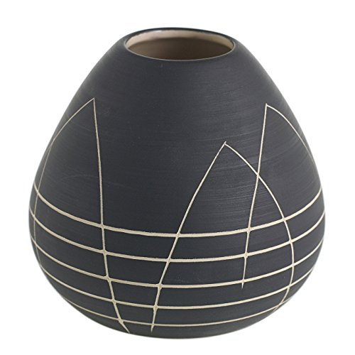 - Black Round Bud Vase w/ Etched White Design - 4 x 4 Inches - Everlane Short Matte Pot w/ Geometric Pattern - Global and Modern Vase Decor for Home or Office