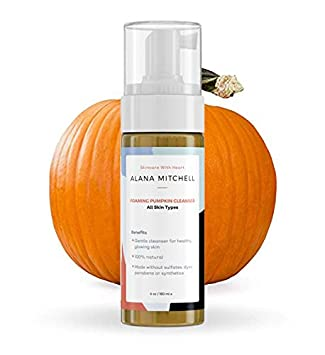 Moisturizing Foaming Pumpkin Cleanser By Alana Mitchell Gentle Wash With Aloe Vera For All Skin Types Healthy Skin Anti-Aging Pore Refining Face Purifier Paraben Free, All Natural 6oz