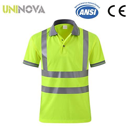 Uninova Safety Shirt High Visibility - Reflective Polo Shirt Short Sleeve for Men and Women - ANSI/ISEA Standards (Medium, Short Sleeve)