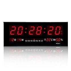 Hot Digital Large Big Digits LED Wall Desk Clock With Calendar Temperature -US
