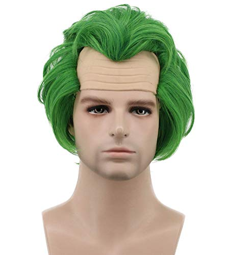 Karlery Men Short Bob Straight Green Wig Halloween Cosplay Wig Anime Costume Wig]()