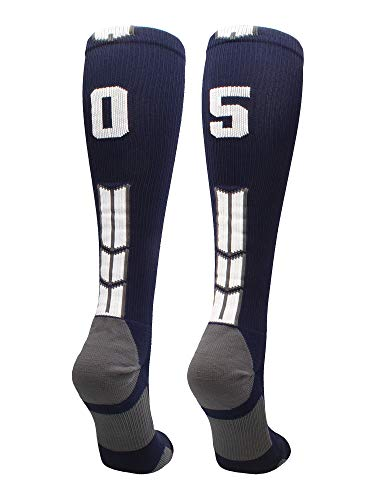 MadSportsStuff Navy/White Player Id Over The Calf Number Socks (#05, Small)