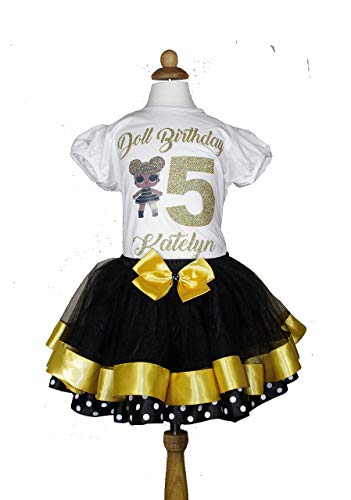 Lol doll queen bee birthday outfit with matching black tutu -