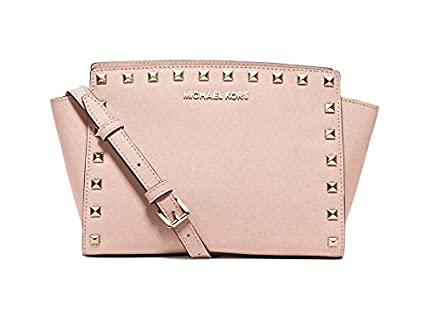 7bd7d925c4dd Image Unavailable. Image not available for. Color  Michael Kors Selma  Leather Studded Medium Messenger Ballet