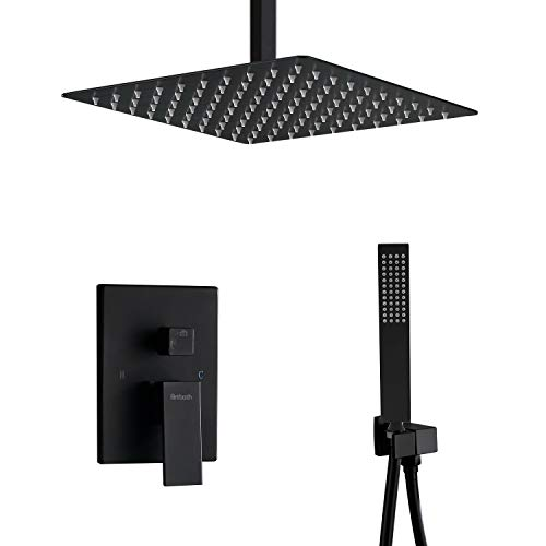 Artbath Ceiling Mount Shower System,Black Shower Faucet Set with Rain Shower Head and Handheld Luxury Rain Mixer Shower Set (Contain Shower Faucet Rough-In Mixer (Best Shower Head With Ceiling Mounts)