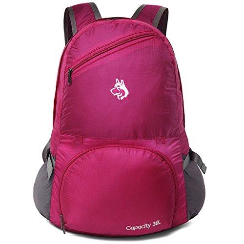 30L Multifunktional Faltbar Rucksack Reisen Im Freien Wasserdicht Reise Tasche,Purple