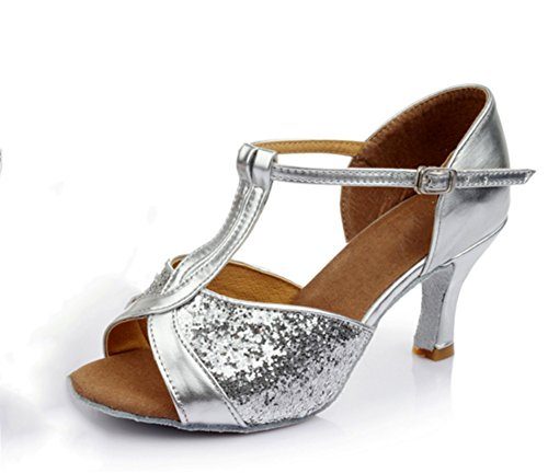 latine bas porter à XW 40 Mode danse chaussures Danse de 34 talons Élégantes de danse latine chaussures Joker WX Silver Chaussures Confortable ARPAcUrfW