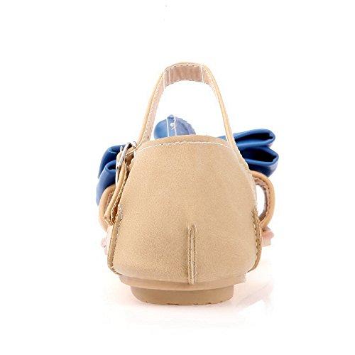 AalarDom Mujer Puntera Abierta Mini Tacón Material Suave Hebilla Sandalias de vestir Azul(1.5)