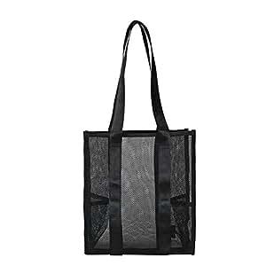 chinatera Shoulder Handbags Large Capacity Totes Solid Color Women Mesh Hollowed Bag