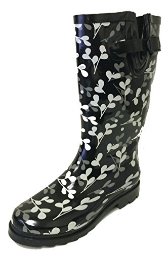 Mid Length Boot - G4U Women's Rain Boots Multiple Styles Color Mid Calf Wellies Buckle Fashion Rubber Knee High Snow Shoes (9 B(M) US, Black/Leaf)