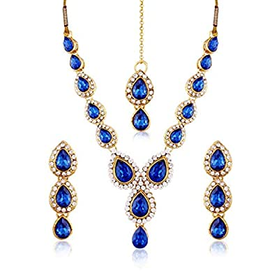 Aheli Stylish Wedding Party Wear Faux Stone Necklace Earrings with Maang Tikkka Jewlery Set (Blue) for Indian Women
