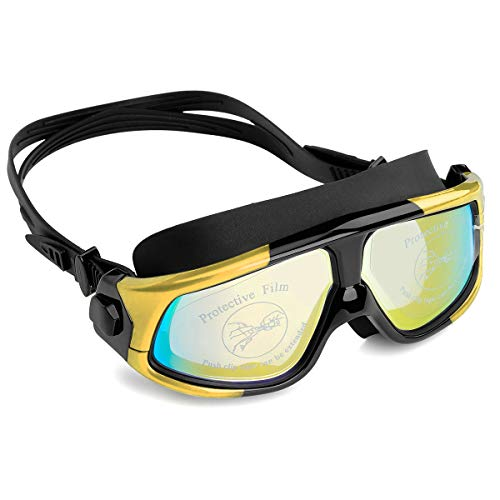 (NIAFEYA Professional Swim Goggles, No Leaking Adjustable Fit Anti-Fog Waterproof UV Protection Wide View Swimming Goggles, for Adult Women Men - Yellow/Black)