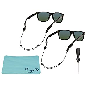 Chums Orbiter Adjustable Eyewear Retainer Wire Sunglass Strap | Large & XL Combo End | Thin Eyeglass and Sports Glasses Cable Holder Keeper Lanyard | 2pk Bundle + Cloth, Black